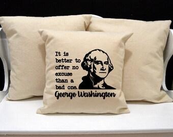 George Washington Pillow, Historical Pillow, novelty throw pillow, pillow gift, nerd gift, nerd pillow, modern home decor, 20x20 16x16 inch