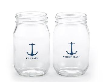Nautical Drinking Jars - Wedding, Bridal Shower, Anniversary, Bachelorette Jars- Blank or Personalized- Gift and Keepsake