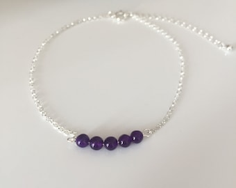 Amethyst anklet. Silver anklet. Silver chain anklet. Fine chain ankle bracelet. Amethyst ankle bracelet. Amethyst and silver anklet.