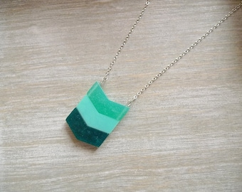 Long necklace, Chevron necklace, Ombre green necklace, Geometric necklace, pendant necklace