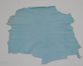 Lambskin leather velvet sky blue