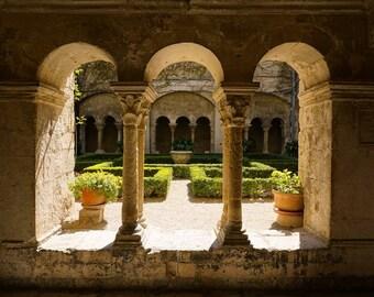 Courtyard Garden, Saint Rémy de Provence, Cloisters Arches, Neutral Decor, French Garden Print, Office Wall Art,France Travel, Cream Green