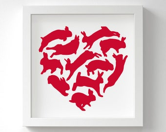 Rabbit Print – Love Heart – Bunny Gift – Rabbit Lover – Birthday Gift – Wall Art – In Many Colours – Unframed