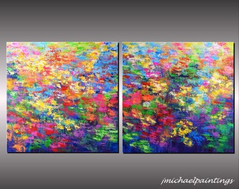 XLarge Impressionism Abstract Wildflower Flowers Palette Knife Painting Canvas Contemporary Landscape Over the Couch Bed  30x60 JMichael