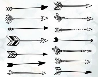 Arrows svg files for cutting - hand drawn boho arrows - decorative arrow collection svg file - graphic elements svg files instant download
