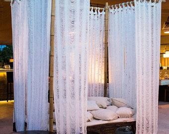 White Cotton Shredded Curtains Long Curtains Boho Window Curtains Boho Home Decor Bedroom Curtain Living Room Decor Door Curtain & Door curtain | Etsy