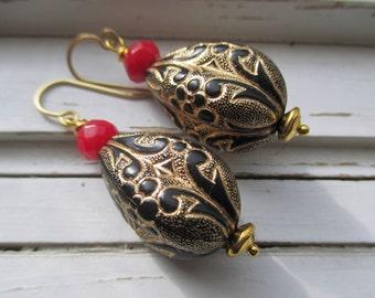 Cleo Drop Earrings. vintage lucite bead, gold scroll pattern.