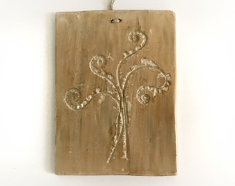 Fiddlehead Fern Ceramic Wall Art Tile, Trivet, or Cheese Plate, Symbol of Luck and Magic