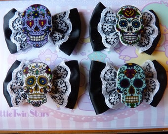 Day of the Death Skull Black Bow