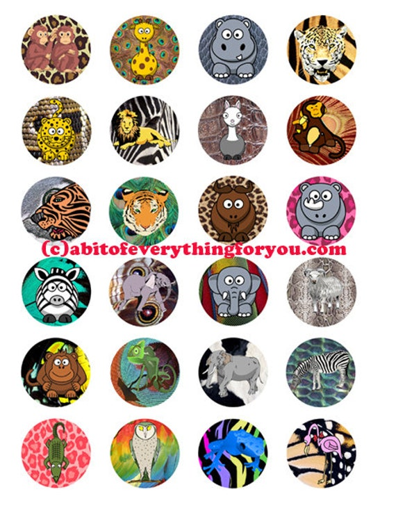 cartoon animals patterns clipart clip art digital download collage sheet 1.5 inch circles graphics images pendant jewelry making printables