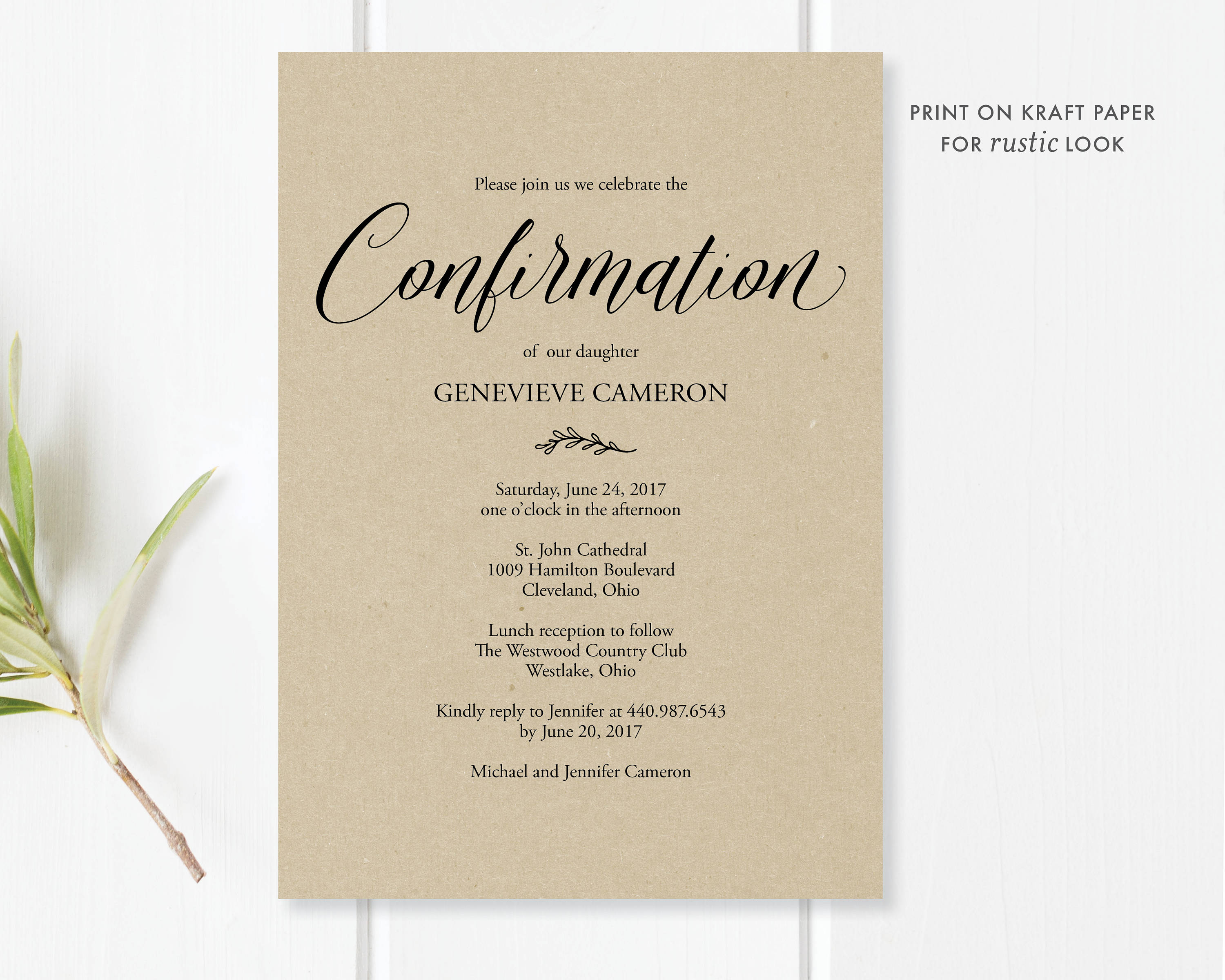 Confirmation invitation printable editable pdf template zoom monicamarmolfo Image collections