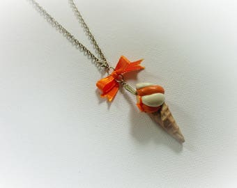 Ice cream cone Italian polymer clay necklace