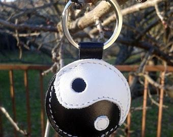 Yin-Yang Leather Keychain FREE Shipping - Yin Yang symbol keychain - Yin and Yang leather bag charm