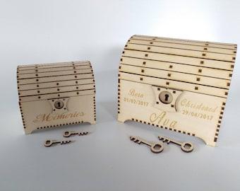 Wooden Treasure Chest Trinket Box