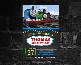 THOMAS TRAIN INVITATION - Birthday Card - Personalize Invitation - Custom Card - Custom Invitation