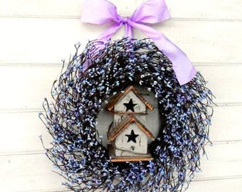 Mothers Day Wreath-Gift for Mom-Spring Wreath-Birdhouse Wreath-Spring Door Decor-Summer Wreath-Home Decor-Custom-Choose Scent & Ribbon