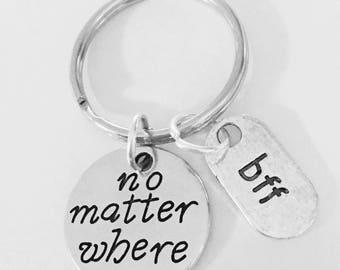 No Matter Where BFF Long Distance, Best Friend Gift, Best Friend Keychain, Travel, BFF Keychain