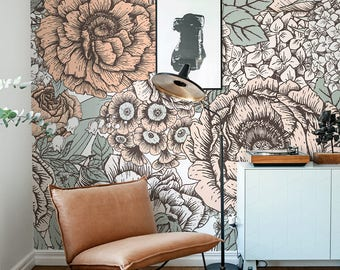 Vintage Floral Wallpaper, Wall Mural, Floral Home Décor, Floral Decorations, Rustic Floral Design, Wall Decal, Removable Wallpaper B007