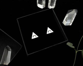 Pyramid ear studs. Bespoke, custom (sustainable sterling silver - triangle - your choice of stamp: ankh, moon, arrow, sun, native headdress)