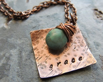 Grace Necklace Stamped Jewelry Christian Jewelry Religious Jewelry Inspirational Gift Turquoise Briolette