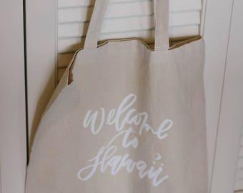 Semi-Custom Calligraphy Linen Tote Bags for Destination Wedding