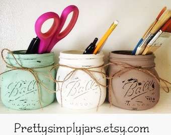 Set of 3 ELITE Wide Mouth Mason Jars - Painted - Distressed - Bathroom Decor - Office Supplies - Rustic - Home Decor - Kitchen - Flower Vase