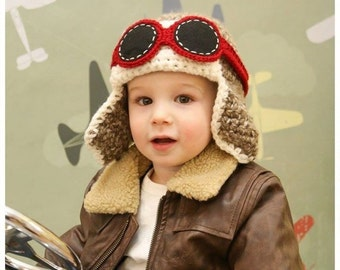 Toddler Aviator Hat w Goggles - Fly - Airplane Hat - Photo Prop - ANY Colors - Boy Girl Birthday Earflap Hat