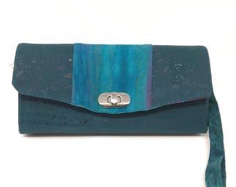 Woman's Wallet Green Teal  Cork Vegan Leather Accordion Style Clutch Phone Wristlet Wallet with Hand-marbled Fabric