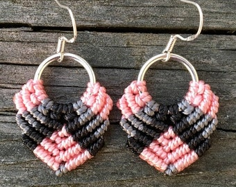 SALE Micro-Macrame Dangle Earrings - Pink, Gray, Black