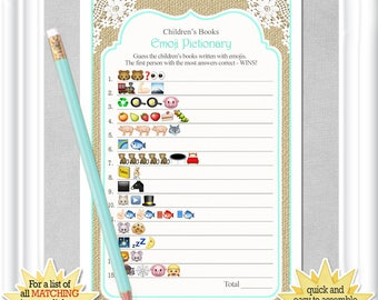 Instant Download Children's Books EMOJI Pictionary in a country/rustic theme with aqua accents and burlap, ANSWERS included, 132BA