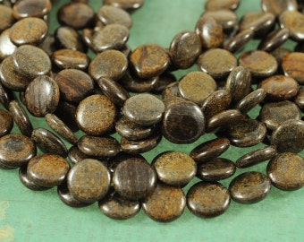 "Bronzite 14mm Coin Gemstone Beads - Full 16"" Strand - About 28 Beads"