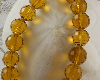 Crystal Beads 12mm Faceted Round Disco Balls Dark Topaz (Qty 6) PH-DB12-DTOP