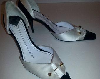 Rare CHANEL TUXEDO HEELS Black Velvet White Satin Pumps Ghw Cc *ReDUCED!