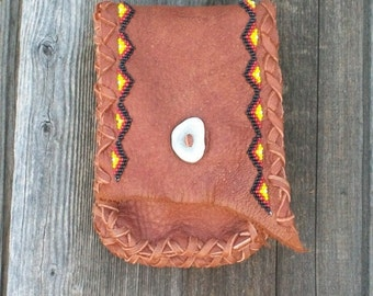 Beaded leather belt bag , Tribal phone case , Leather phone bag