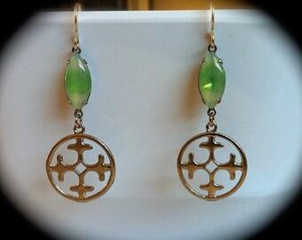 Voyager Earrings Celtic Cross Earrings Pacific Green Opal  Vintage Swarovski Jewelry, Celtic  Outlander Jewelry