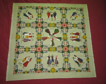 Vintage Perfect Swedish Souvenir Linen Tablecloth with Colorful Traditional Folk Costumes