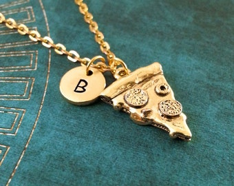 Pizza Necklace Gold Pizza Jewelry Pepperoni Pizza Gift Personalized Jewelry Pizza Slice Necklace Pizza Charm Necklace Bridesmaid Necklace