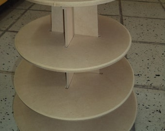 4 Tier cupcake stand XL, round shape , made of wood, easy handling