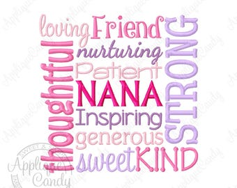 Nana Subway Art Machine Embroidery Design Digital File 4x4 5x5 6x6 7x7 8x8 Grandma Grandmother gma INSTANT DOWNLOAD