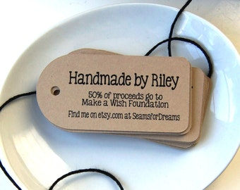 12 Personalized Product Tags, Kraft Favor Tags, Custom Tags . 1.5 x 3 inches