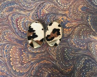 Vintage Leopard Print Earrings. Horsehair. Clip Ons. Gold.