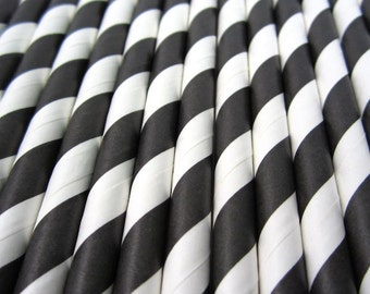 Festive Black Stripe Paper Straws - Drinking Straws - Party Supplies