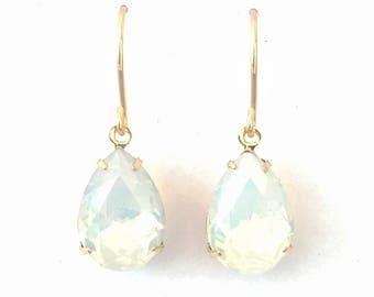 White opal drops, Swarovski gold drops, jewellery Australia, women gift, bridesmaid gift, gold earrings, wedding, leverback earring