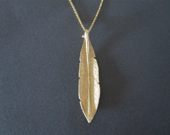 Long Gold Leaf Necklace - Vertical Charm Necklace - Long Layered Necklace