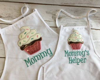 Embroidered and Appliqued Mommy and Me Apron Set