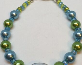 Hope Handmade Bracelet with Green and Blue Pearl Beads by JulieDeeleyJewellery on Etsy, Gifts for her, Ladies gift, handmade bracelet