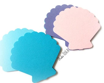 """Mixed Blue, Pink, Lavender Sea Shell 2"""", 4"""" or 5"""" Sea Theme Confetti, Cut outs or Choose Your Colors"""