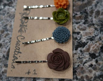 Autumn Shades Bobby Pin Set - 4 Flower Bobby Pins