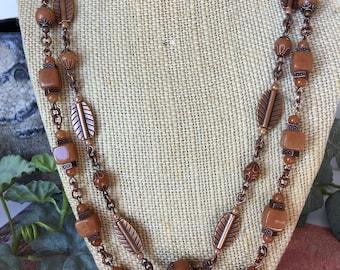Dark orange aventurine cubes boho necklace, copper leaves, copper chain, two strand, casual