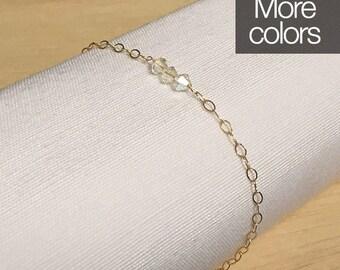 Transparent bracelet, gold filled bracelet, Swarovski bracelet, crystals bracelet, simple bracelet, minimal bracelet, clear bracelet